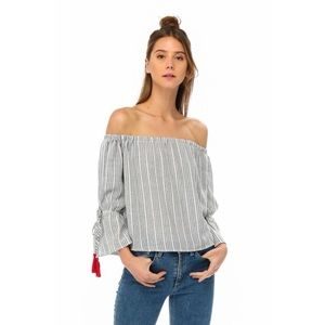 Hannah Beury Tops - LAST ONE! Off the Shoulder Top with Tassel Detail